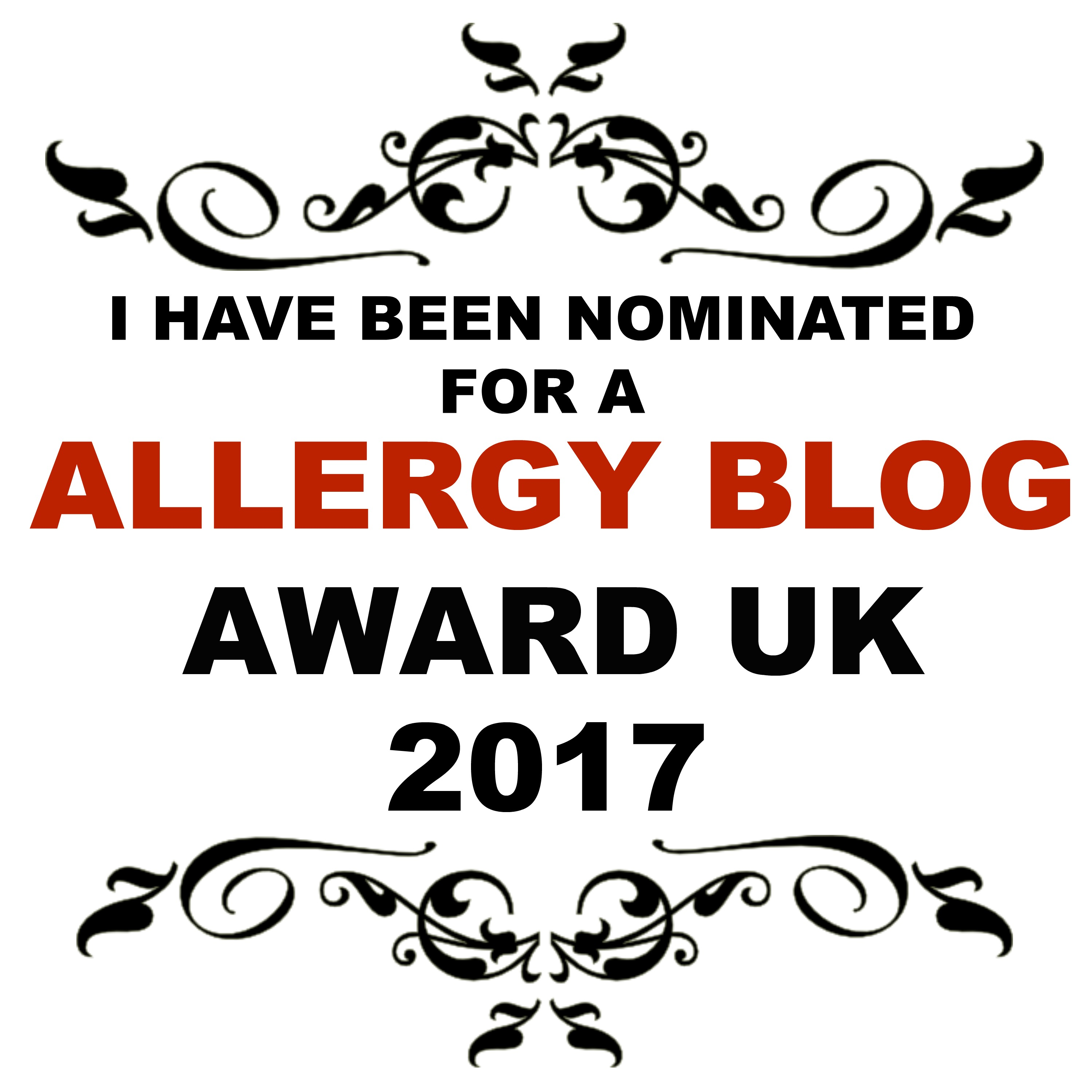 Allergy Blog Award - nominated in Allergy Blog of the Year and also Free From Recipe
