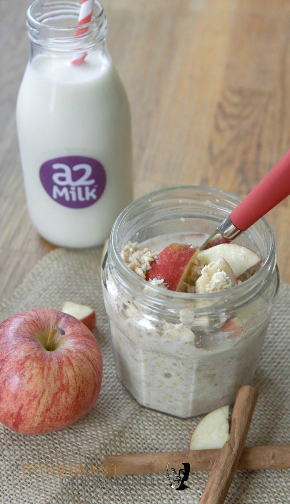 Overnight Oats - made with gluten-free porridge oats and a2 Milk, perfect for anyone suffering with IBS! www.intolerantgourmand.com