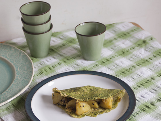 Spinach farinata crepe with masaladosa potatoes
