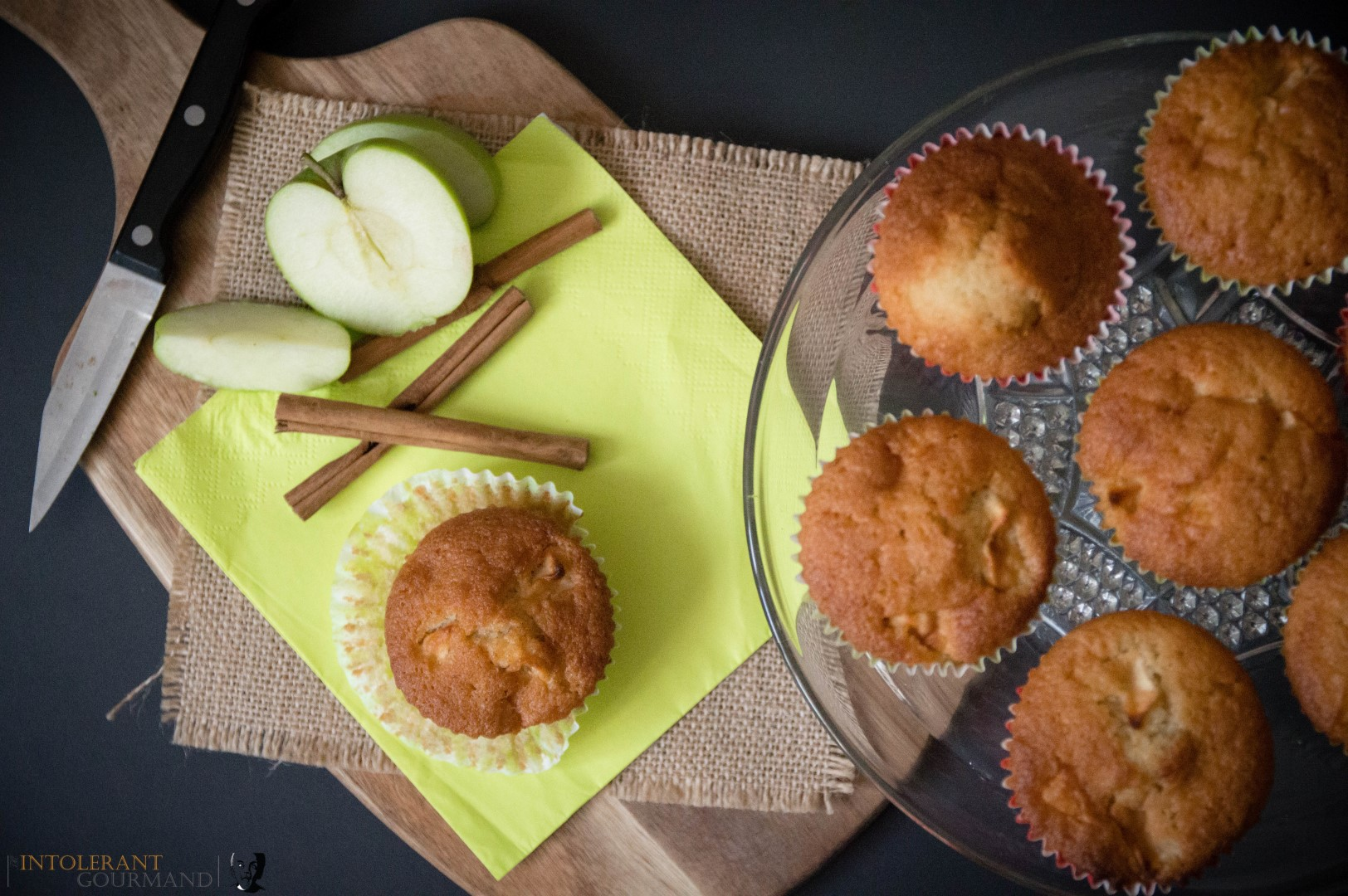 Apple Muffins gluten free and vegan - a deliciously light sponge with the warming flavours from cinnamon and other spices and the healthy and naturally sweet apples! www.intolerantgourmand.com