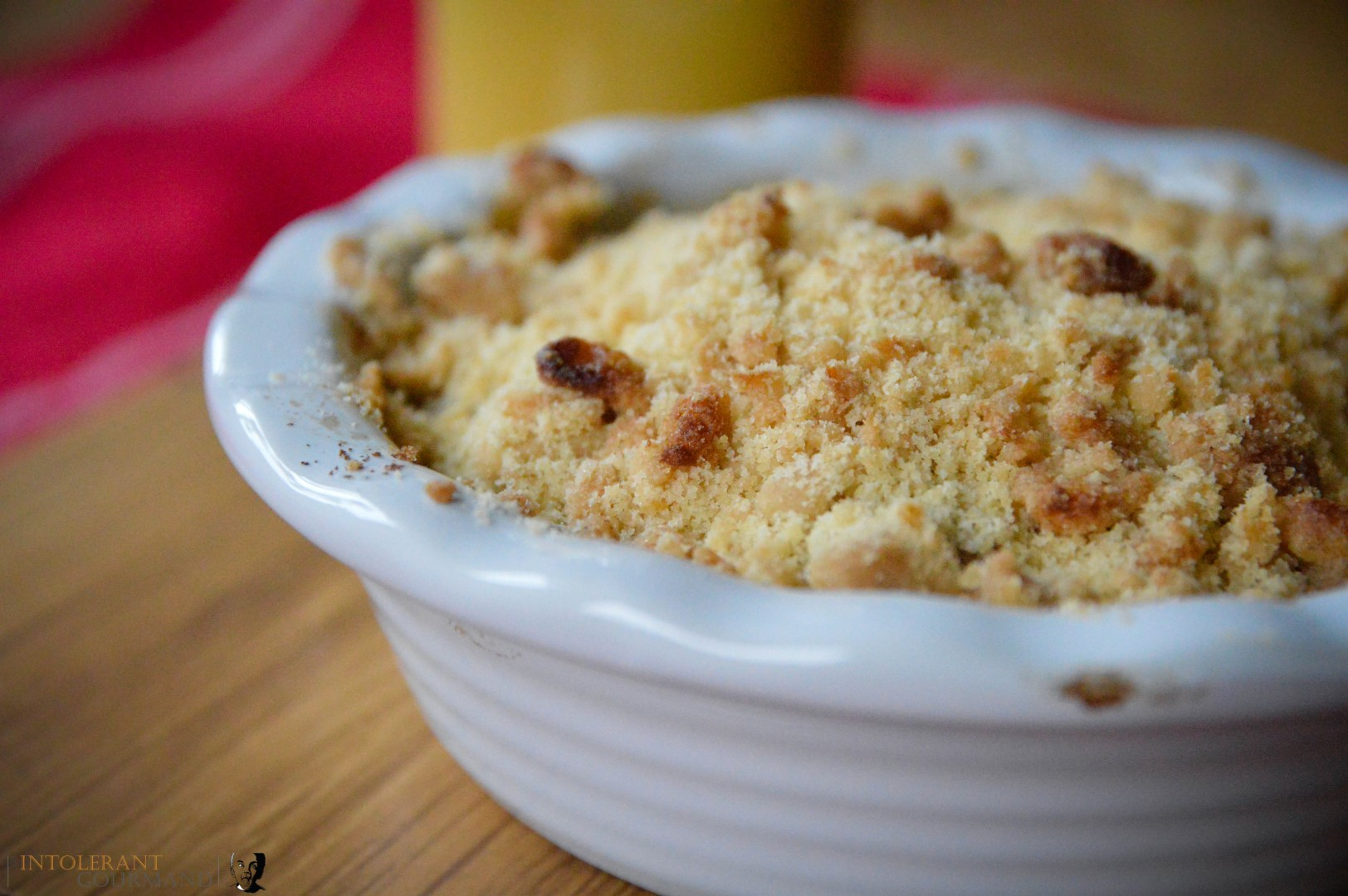 The best ever Gluten free & Dairy free Apple Crumble created for the Speciality Fine Food Fair! A delicious partnership of apple with a hint of mixed spice, covered with a shortbread inspired crumble topping! The perfect comfort food, especially when paired with dairy-free custard or cream! www.intolerantgourmand.com