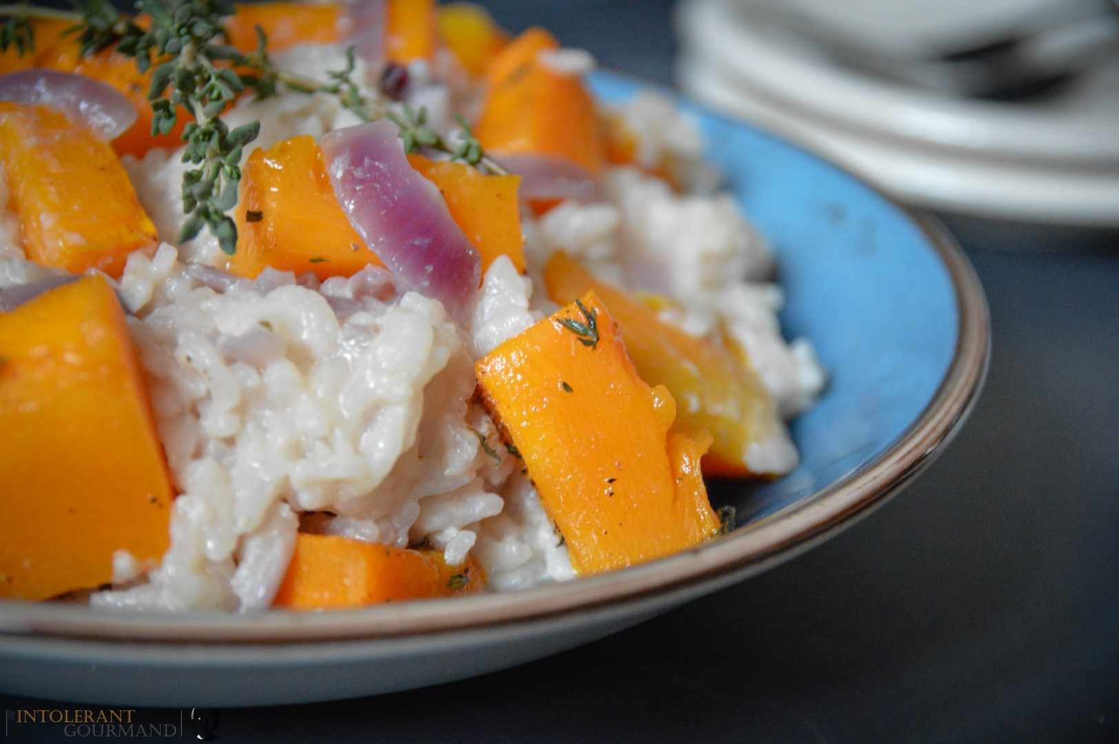 The Best Pumpkin Risotto - this vibrant dish is gluten-free and bursting full of flavour! Made using a2Milk so it's easier to digest too! www.intolerantgourmand.com