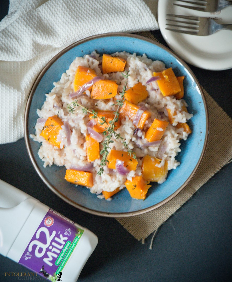The Best Pumpkin Risotto - the perfect recipe for harvest time! It uses the iconic pumpkin, autumnal produce at its finest! Paird with creamy a2 milk, subtle thyme undertones and finished with a little goats cheese. Comfort food doesn't get much better! www.intolerantgourmand.com