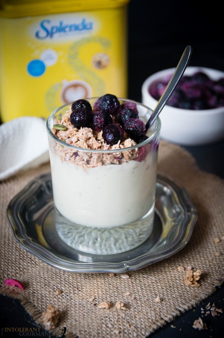 Breakfast Granola Pots - vegan, gluten-free and nut-free breakfast that looks and tastes delicious and because it uses Splenda, it's a low calorie sweetened alternative! www.intolerantgourmand.com