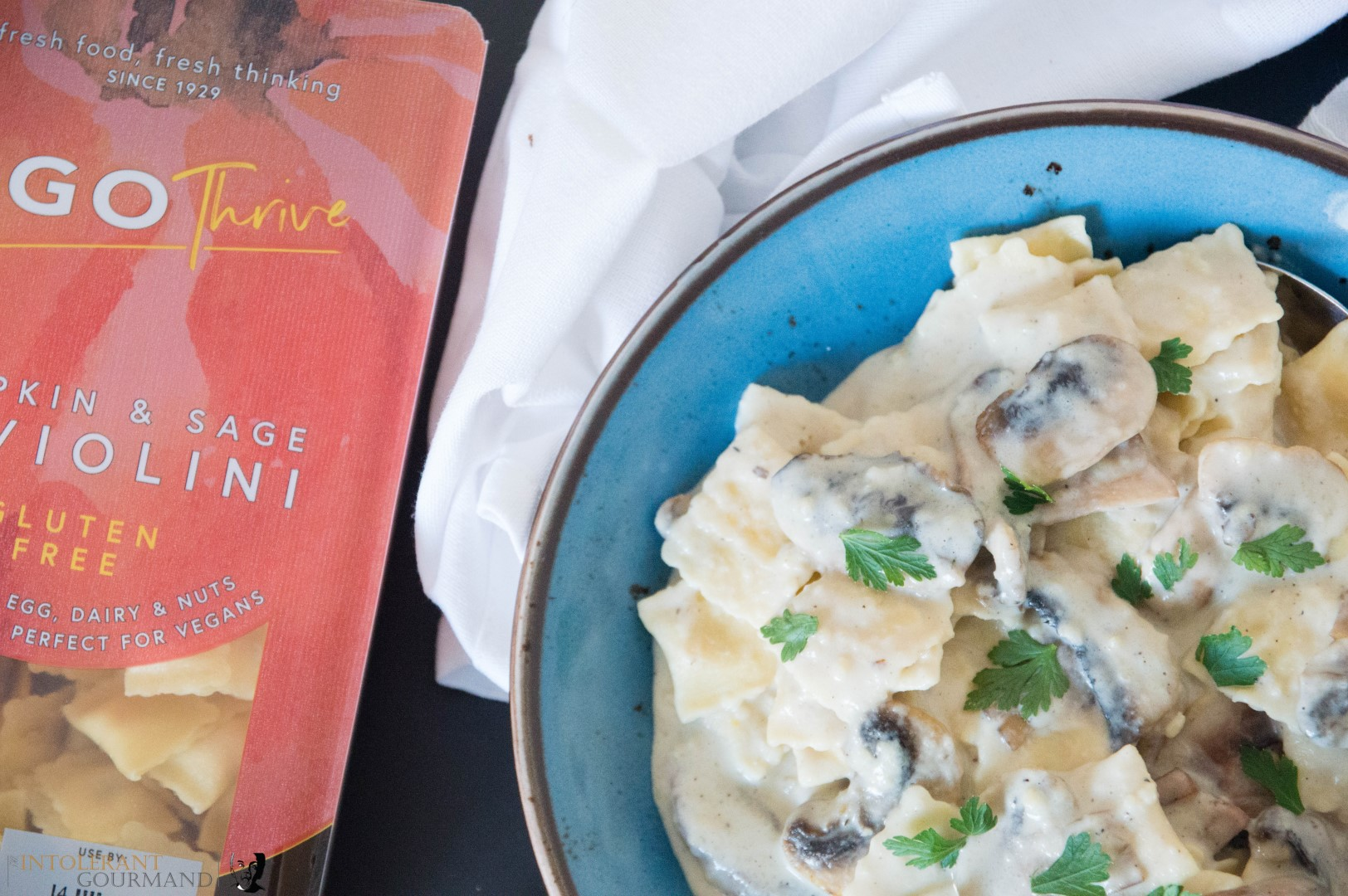 Creamy Mushroom Sauce with Pumpkin Raviolini - a delicously quick and simple dairy-free and gluten-free creamy mushroom sauce paired with pumpkin raviolini to bring the ultimate in comfort food! www.intolerantgourmand.com