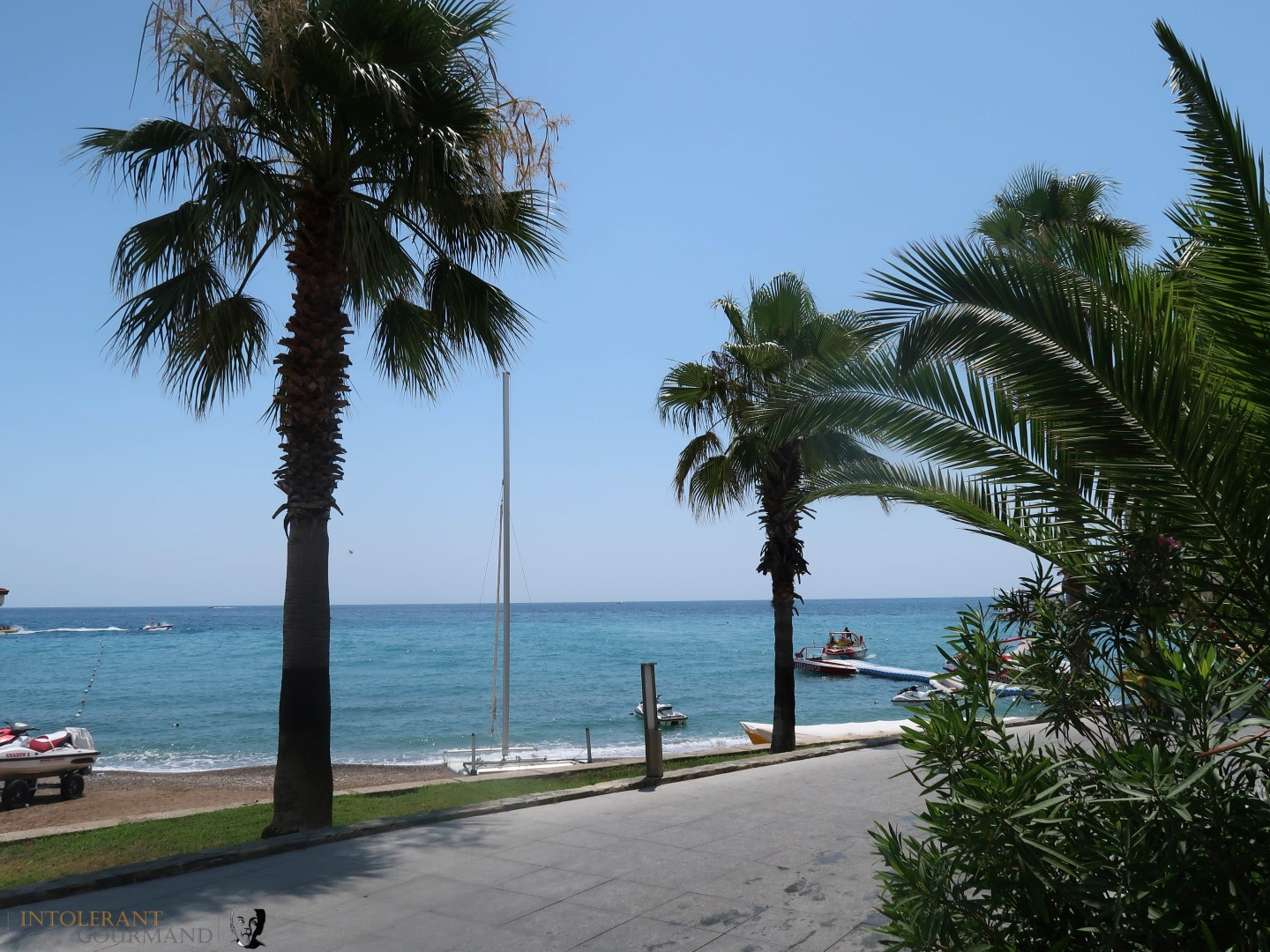 Rixos Sungate Kemer Antalya with Jet 2 Holidays - beach photo, palm trees, and blue skies with the sea in the background. www.intolerantgourmand.com