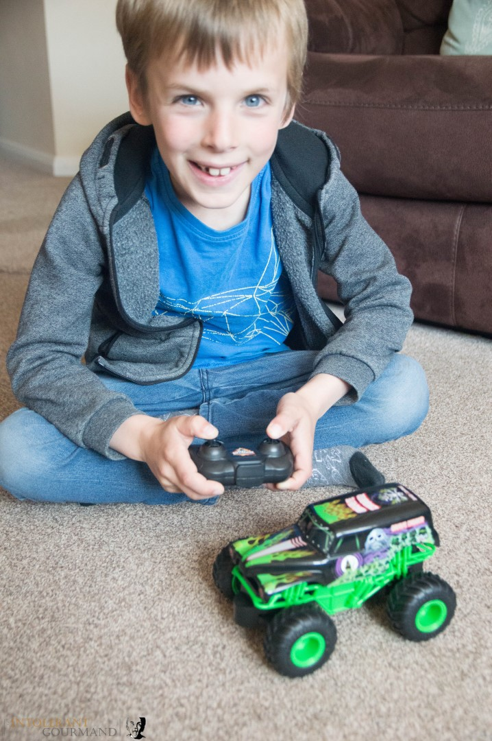 Spin Master Monster Jam Collection - Callum sat testing out the remote control Monster Jam Monster Truck from Spinmaster. www.intolerantgourmand.com